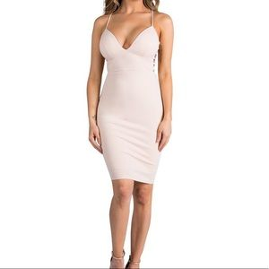 Nude Low-Cut, Midi, Bodycon Dress